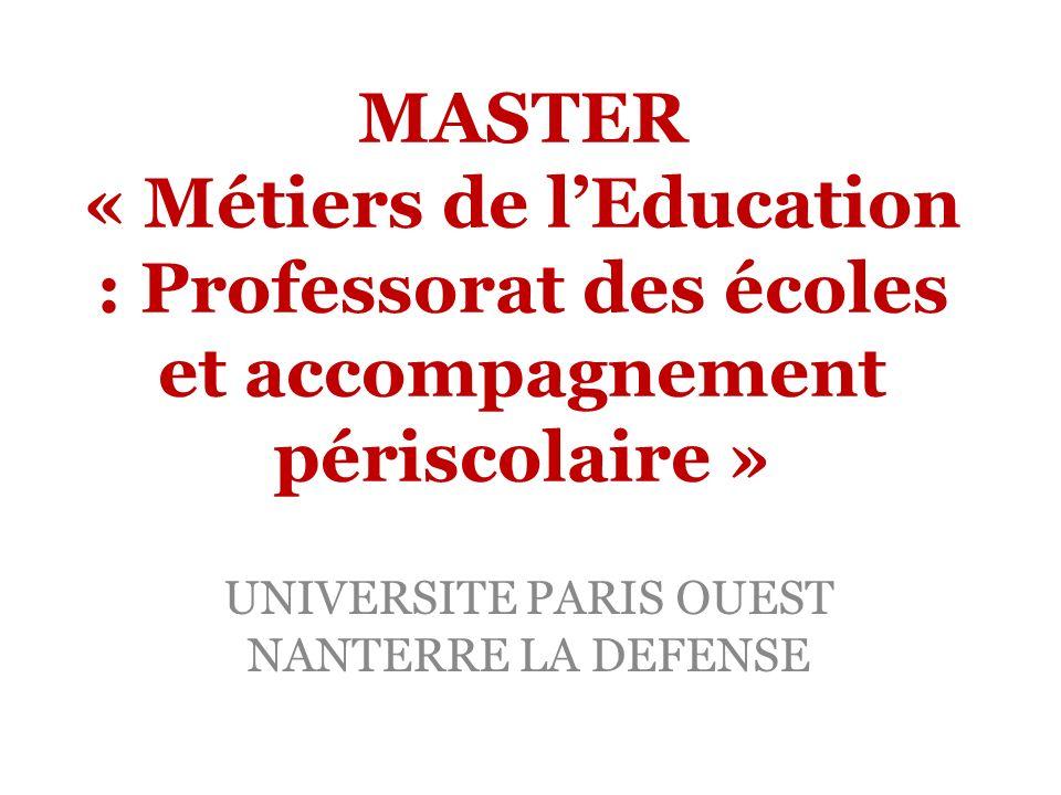 MASTER « Métiers de lEducation : Professorat des écoles et accompagnement périscolaire » UNIVERSITE PARIS OUEST NANTERRE LA DEFENSE