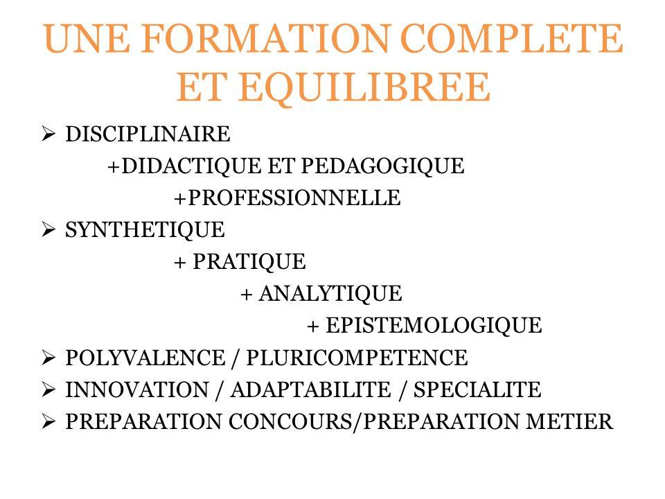 UNE FORMATION COMPLETE ET EQUILIBREE DISCIPLINAIRE +DIDACTIQUE ET PEDAGOGIQUE +PROFESSIONNELLE SYNTHETIQUE + PRATIQUE + ANALYTIQUE + EPISTEMOLOGIQUE POLYVALENCE / PLURICOMPETENCE INNOVATION / ADAPTABILITE / SPECIALITE PREPARATION CONCOURS/PREPARATION METIER