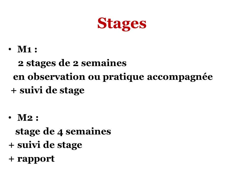 Stages M1 : 2 stages de 2 semaines en observation ou pratique accompagnée + suivi de stage M2 : stage de 4 semaines + suivi de stage + rapport