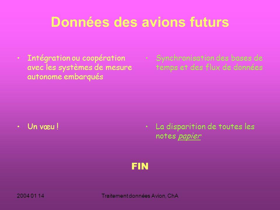 2004 01 14Traitement données Avion, ChA Données des avions futurs Intégration ou coopération avec les systèmes de mesure autonome embarqués Synchronisation des bases de temps et des flux de données Un vœu .