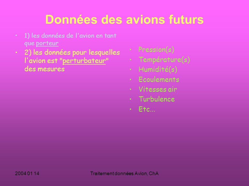 2004 01 14Traitement données Avion, ChA Données des avions futurs 1) les données de l avion en tant que porteur 2) les données pour lesquelles l avion est perturbateur des mesures Pression(s) Température(s) Humidité(s) Ecoulements Vitesses air Turbulence Etc...