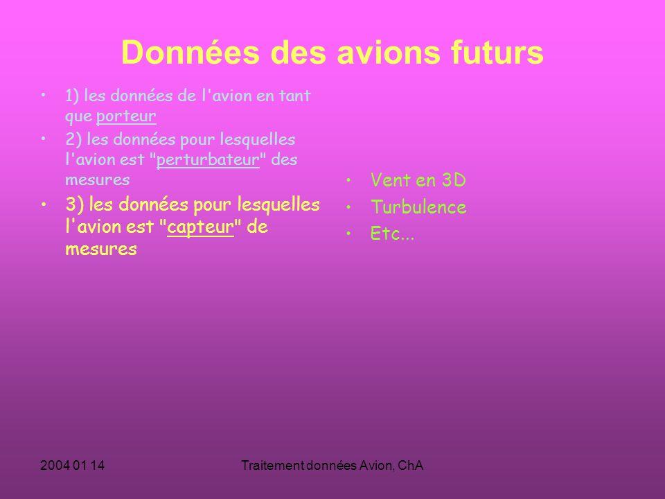 2004 01 14Traitement données Avion, ChA Données des avions futurs 1) les données de l avion en tant que porteur 2) les données pour lesquelles l avion est perturbateur des mesures 3) les données pour lesquelles l avion est capteur de mesures Vent en 3D Turbulence Etc...
