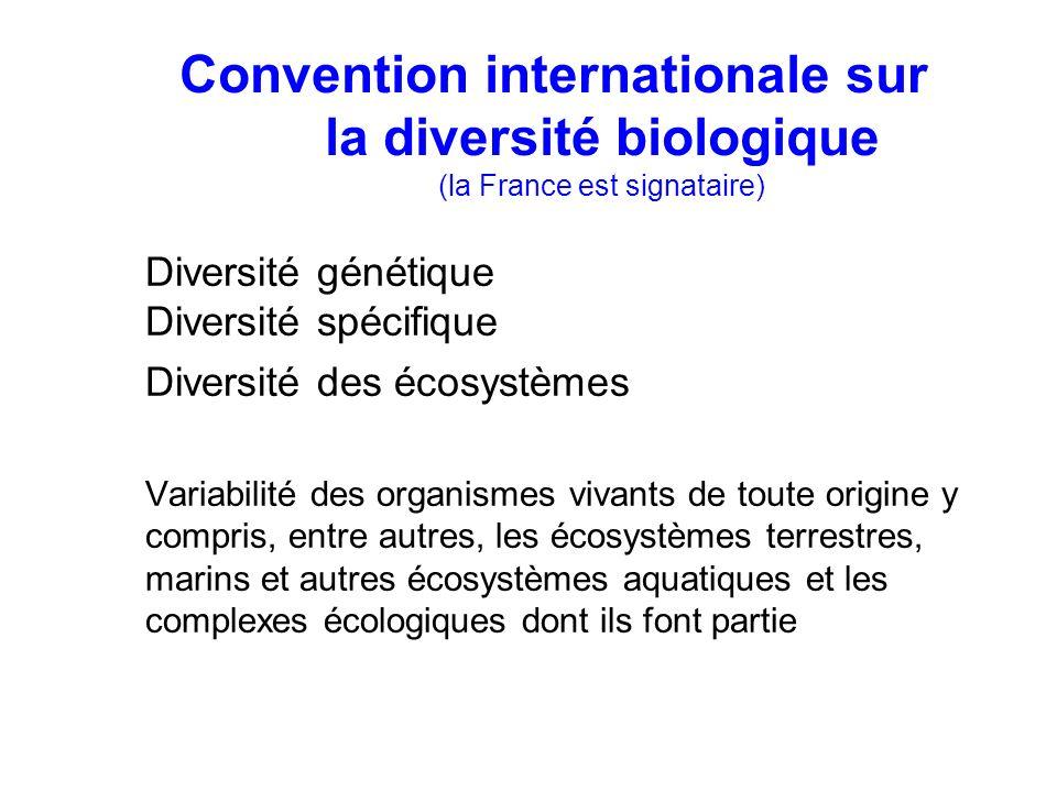 Diversité génétique Diversité spécifique Diversité des écosystèmes Variabilité des organismes vivants de toute origine y compris, entre autres, les écosystèmes terrestres, marins et autres écosystèmes aquatiques et les complexes écologiques dont ils font partie Convention internationale sur la diversité biologique (la France est signataire)
