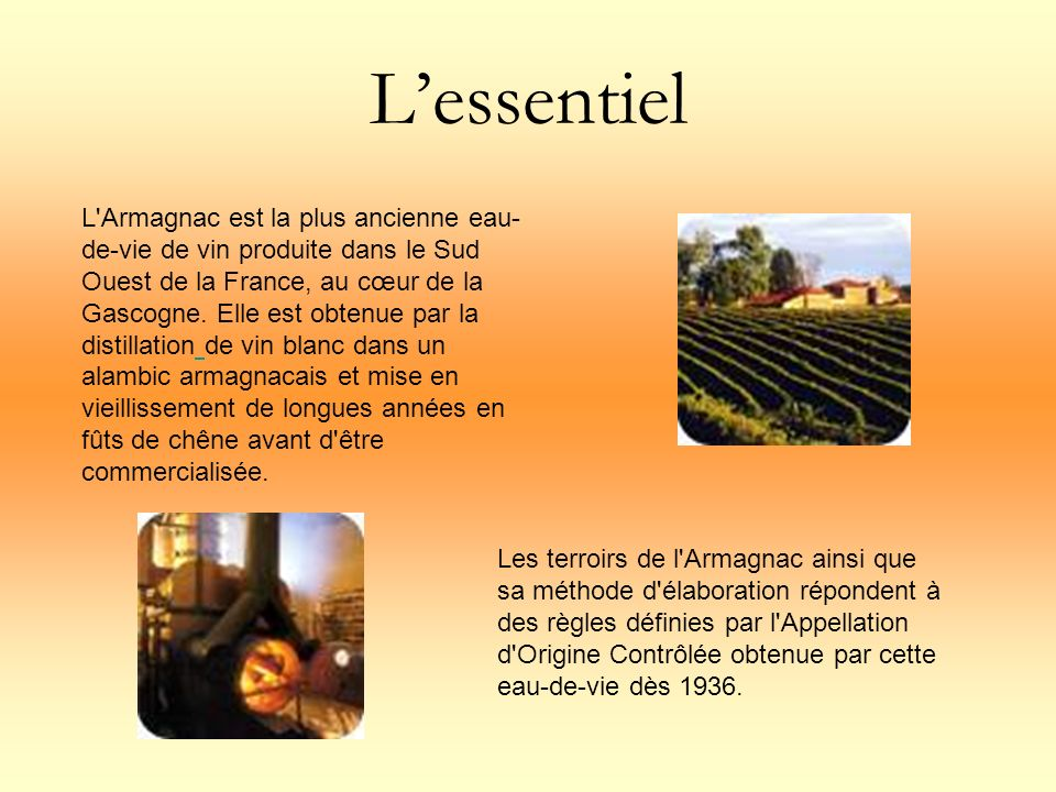 Lessentiel L'Armagnac est la plus ancienne eau- de-vie de vin produite dans le Sud Ouest de la France, au cœur de la Gascogne. Elle est obtenue par la