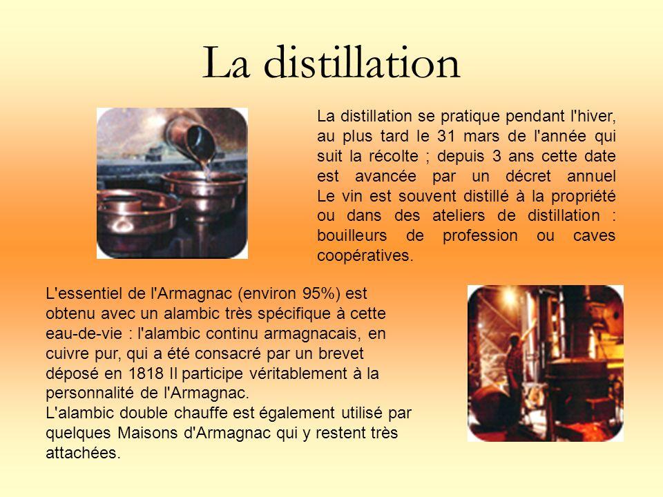 La distillation La distillation se pratique pendant l'hiver, au plus tard le 31 mars de l'année qui suit la récolte ; depuis 3 ans cette date est avan