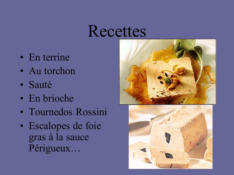 Recettes En terrine Au torchon Sauté En brioche Tournedos Rossini Escalopes de foie gras à la sauce Périgueux…