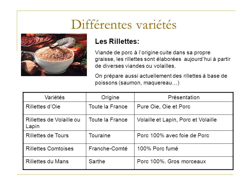 Différentes variétés Les Rillettes: Viande de porc à lorigine cuite dans sa propre graisse, les rillettes sont élaborées aujourdhui à partir de divers