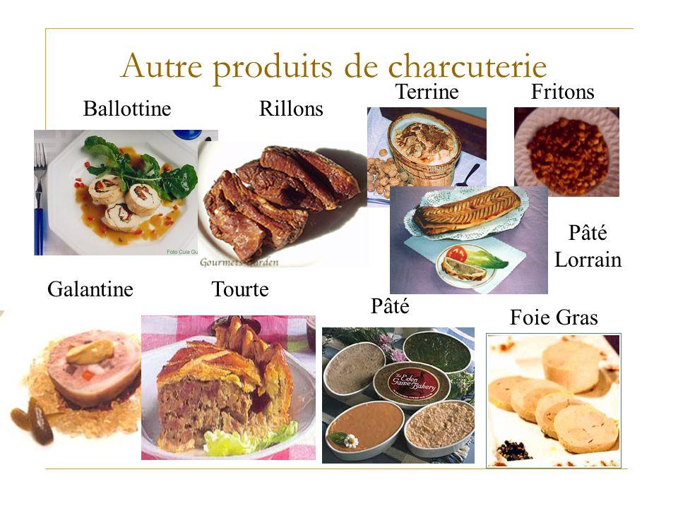 Autre produits de charcuterie Ballottine Foie Gras Fritons Galantine Pâté Rillons Terrine Tourte Pâté Lorrain