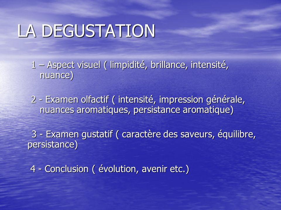 LA DEGUSTATION 1 – Aspect visuel ( limpidité, brillance, intensité, nuance) 2 - Examen olfactif ( intensité, impression générale, nuances aromatiques,