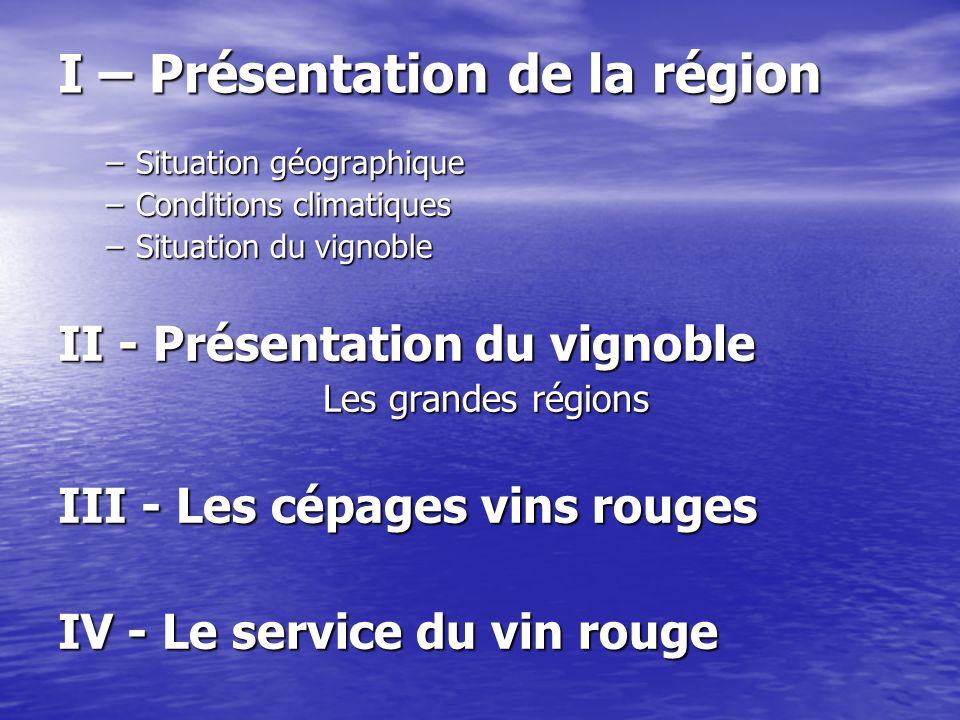 I – Présentation de la région –Situation géographique –Conditions climatiques –Situation du vignoble II - Présentation du vignoble Les grandes régions