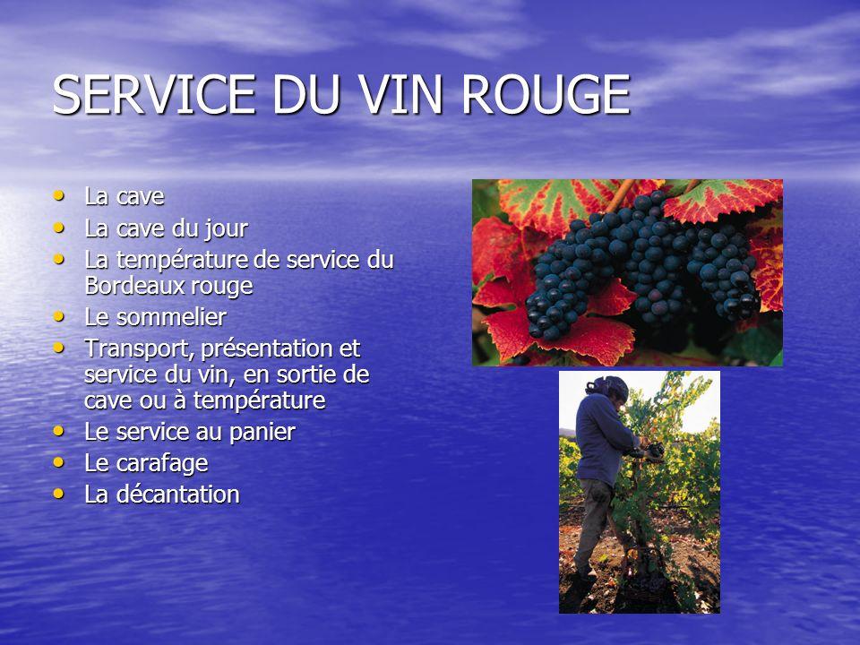 SERVICE DU VIN ROUGE La cave La cave La cave du jour La cave du jour La température de service du Bordeaux rouge La température de service du Bordeaux