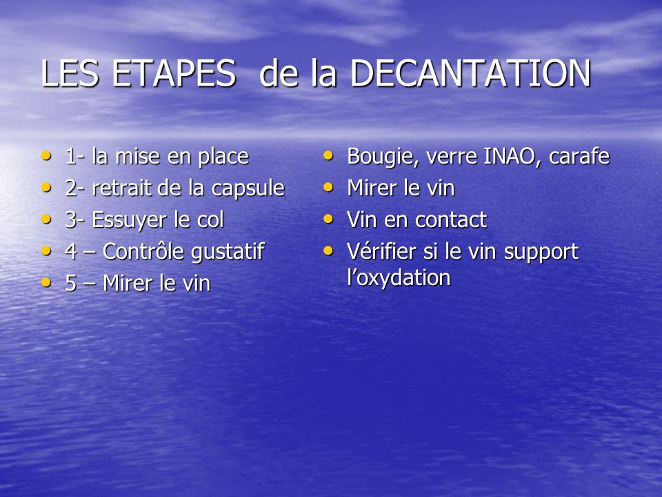 LES ETAPES de la DECANTATION 1- la mise en place 1- la mise en place 2- retrait de la capsule 2- retrait de la capsule 3- Essuyer le col 3- Essuyer le