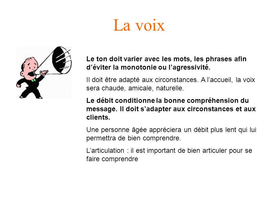 La voix Le ton doit varier avec les mots, les phrases afin déviter la monotonie ou lagressivité.