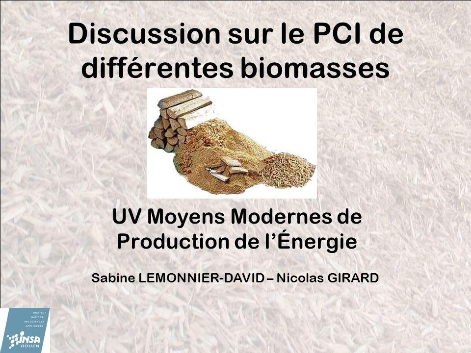 Discussion sur le PCI de différentes biomasses UV Moyens Modernes de Production de lÉnergie Sabine LEMONNIER-DAVID – Nicolas GIRARD
