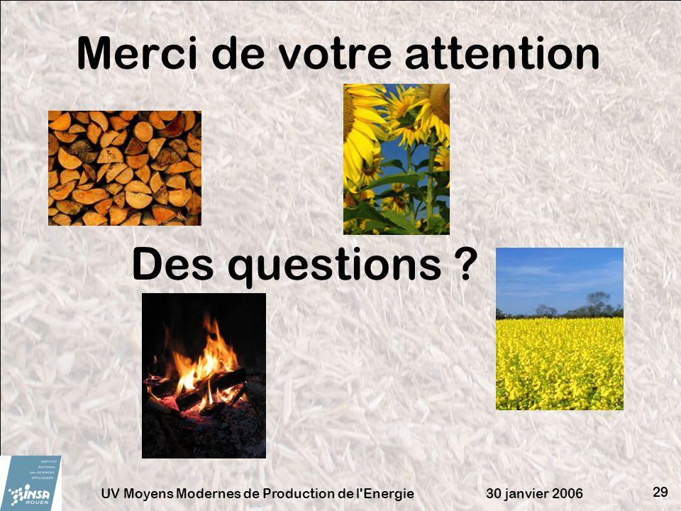 30 janvier 2006UV Moyens Modernes de Production de l'Energie 29 Merci de votre attention Des questions ?