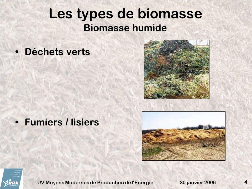 30 janvier 2006UV Moyens Modernes de Production de l Energie 15 (min) : teneur en matières minérales [kg/kg M.S.] Hu = humidité [kg H2O/kg M.S.] Influence de la teneur en cendres [kJ/kg] La teneur en cendres influence directement sur le contenu énergétique disponible de la biomasse : plus il y a de matières minérales, moins le contenu énergétique est élevé.