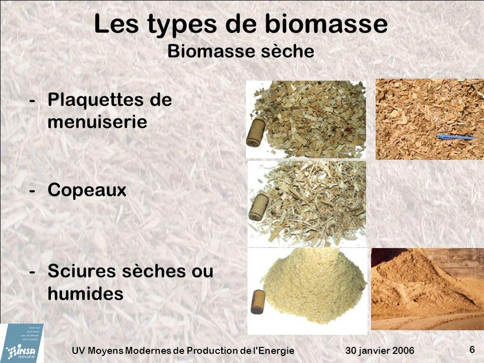 30 janvier 2006UV Moyens Modernes de Production de l'Energie 6 -Plaquettes de menuiserie -Copeaux -Sciures sèches ou humides Les types de biomasse Bio