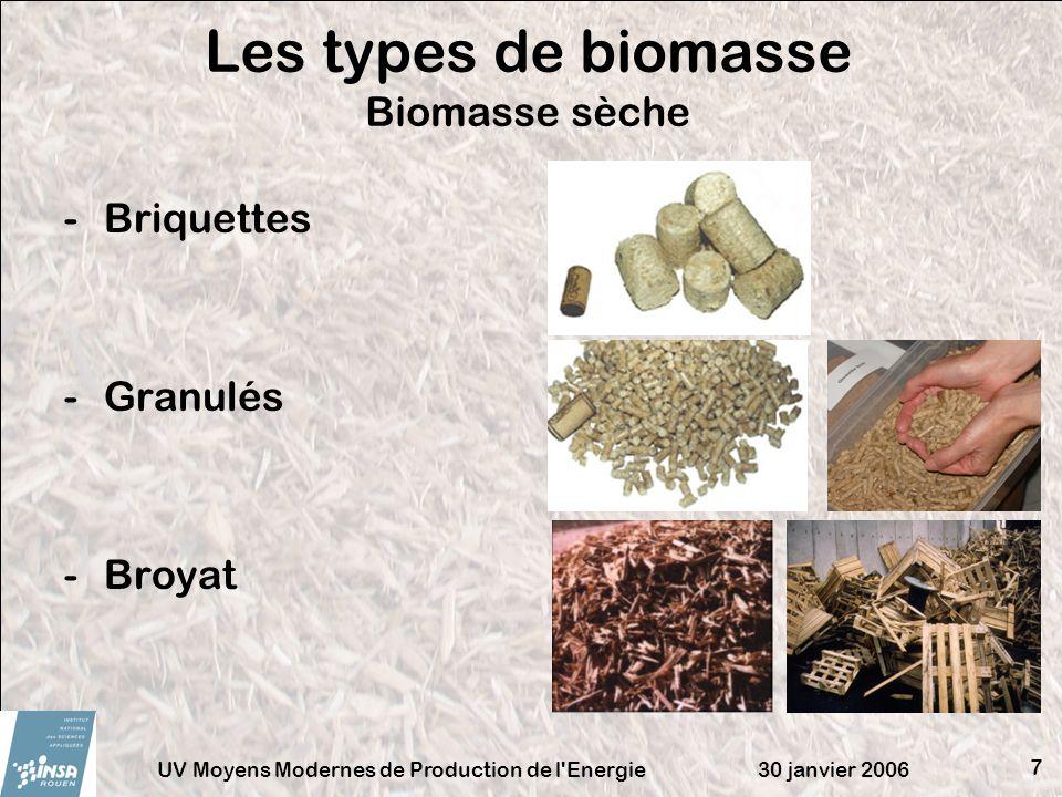 30 janvier 2006UV Moyens Modernes de Production de l'Energie 7 Les types de biomasse Biomasse sèche -Briquettes -Granulés -Broyat