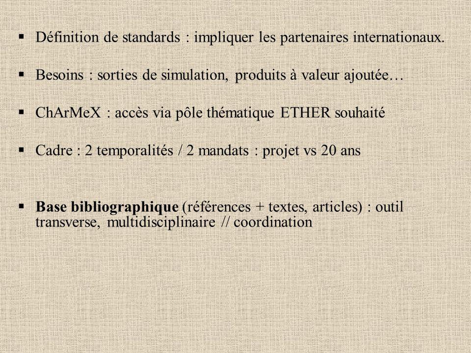 Définition de standards : impliquer les partenaires internationaux.