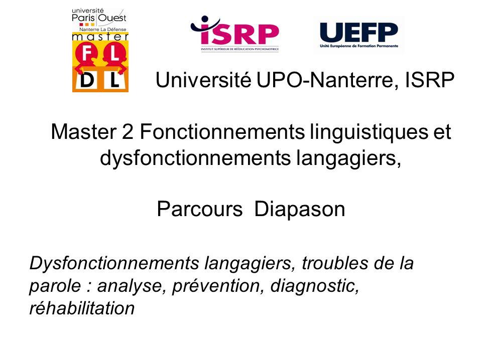 Master 2 Fonctionnements linguistiques et dysfonctionnements langagiers, Parcours Diapason Université UPO-Nanterre, ISRP Dysfonctionnements langagiers