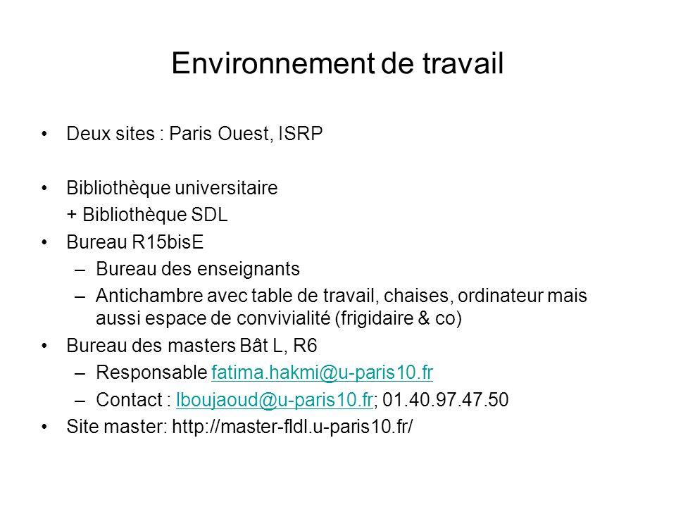 Environnement de travail Deux sites : Paris Ouest, ISRP Bibliothèque universitaire + Bibliothèque SDL Bureau R15bisE –Bureau des enseignants –Anticham