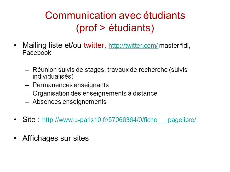 Communication avec étudiants (prof > étudiants) Mailing liste et/ou twitter, http://twitter.com/ master fldl, Facebook http://twitter.com/ –Réunion su