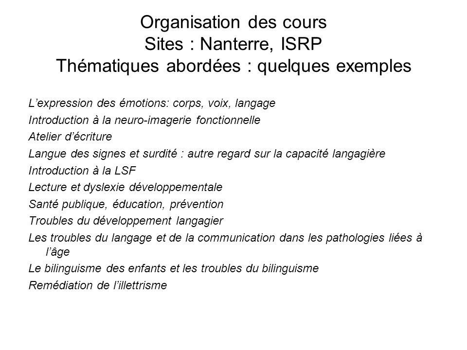 Organisation des cours Sites : Nanterre, ISRP Thématiques abordées : quelques exemples Lexpression des émotions: corps, voix, langage Introduction à l