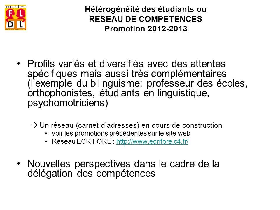 Hétérogénéité des étudiants ou RESEAU DE COMPETENCES Promotion 2012-2013 Profils variés et diversifiés avec des attentes spécifiques mais aussi très c