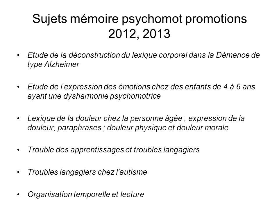 Sujets mémoire psychomot promotions 2012, 2013 Etude de la déconstruction du lexique corporel dans la Démence de type Alzheimer Etude de lexpression d