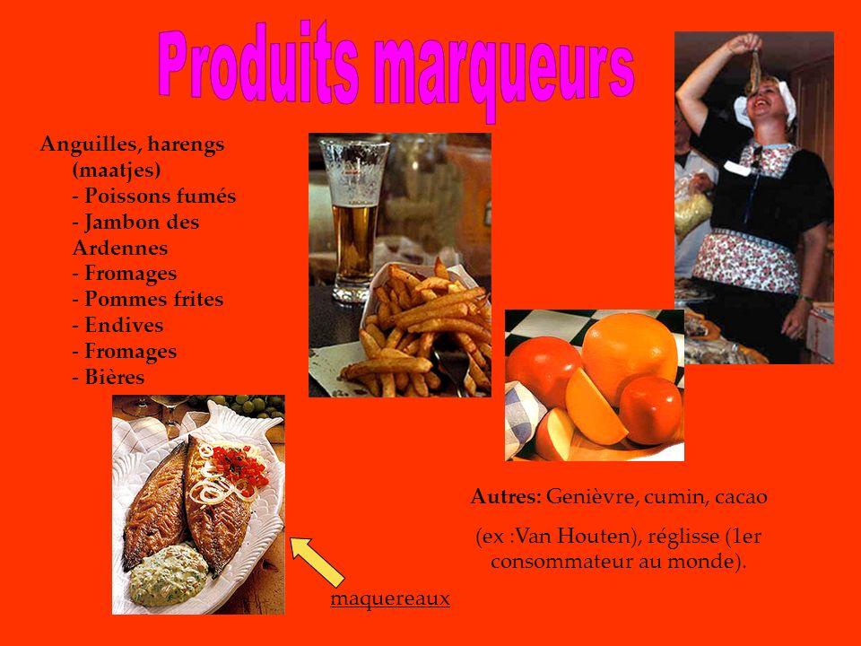 Anguilles, harengs (maatjes) - Poissons fumés - Jambon des Ardennes - Fromages - Pommes frites - Endives - Fromages - Bières maquereaux Autres: Genièv