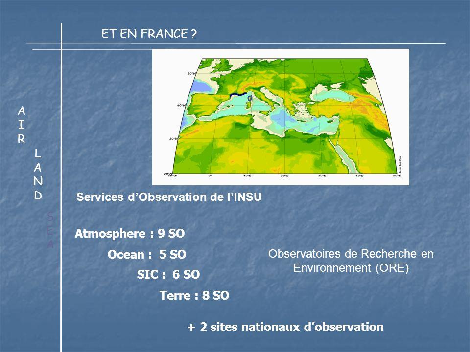 Services dObservation de lINSU LANDLAND AIRAIR SEASEA Observatoires de Recherche en Environnement (ORE) Atmosphere : 9 SO Ocean : 5 SO SIC : 6 SO Terre : 8 SO + 2 sites nationaux dobservation ET EN FRANCE ?