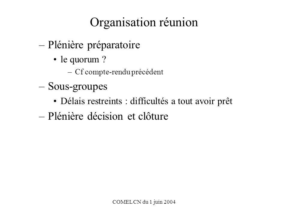 COMEL CN du 1 juin 2004 Organisation réunion –Plénière préparatoire le quorum .