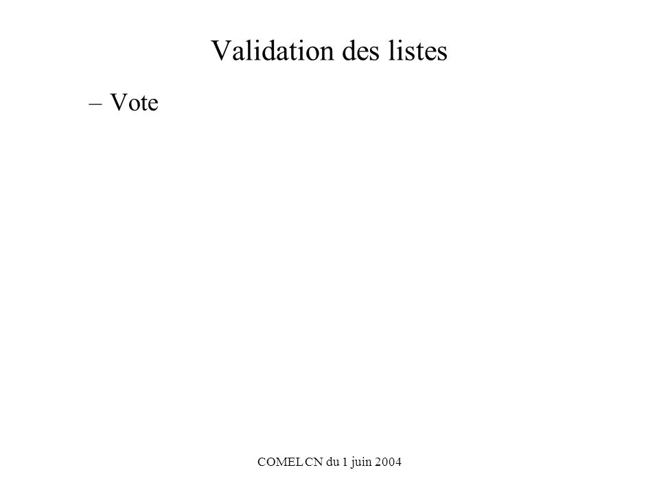 COMEL CN du 1 juin 2004 Validation des listes –Vote