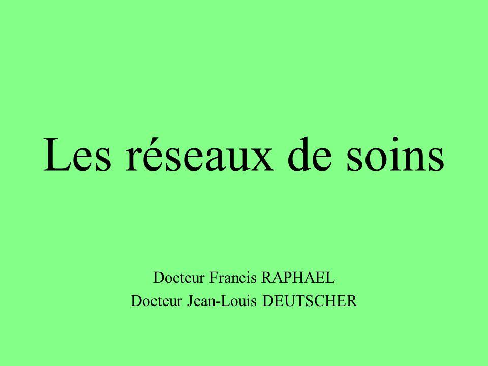 Les réseaux de soins Docteur Francis RAPHAEL Docteur Jean-Louis DEUTSCHER
