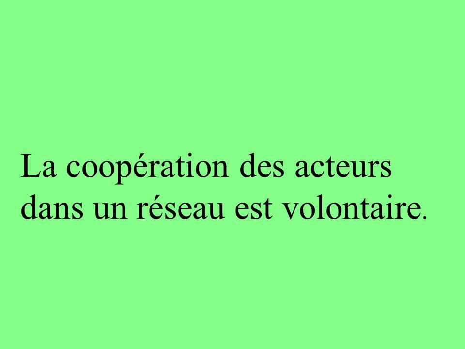 La coopération des acteurs dans un réseau est volontaire.