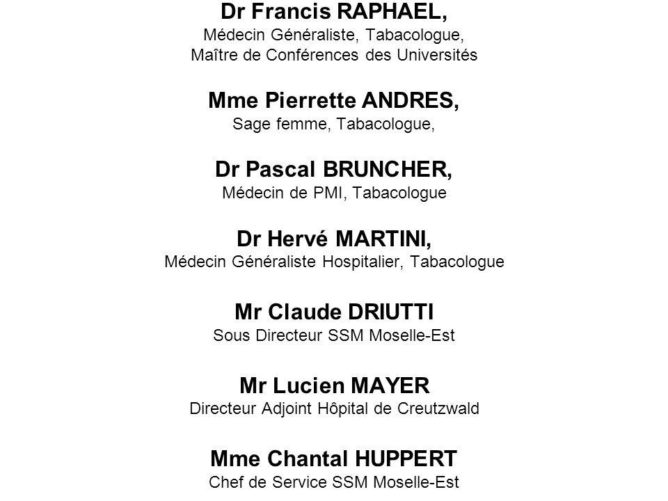 Dr Francis RAPHAEL, Médecin Généraliste, Tabacologue, Maître de Conférences des Universités Mme Pierrette ANDRES, Sage femme, Tabacologue, Dr Pascal B