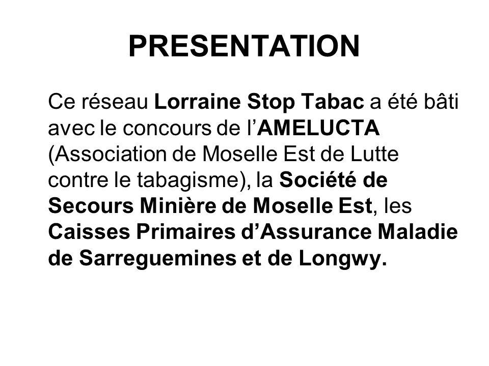 PRESENTATION Ce réseau Lorraine Stop Tabac a été bâti avec le concours de lAMELUCTA (Association de Moselle Est de Lutte contre le tabagisme), la Soci
