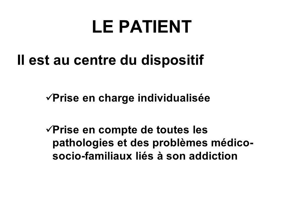 LE PATIENT Il est au centre du dispositif Prise en charge individualisée Prise en compte de toutes les pathologies et des problèmes médico- socio-fami