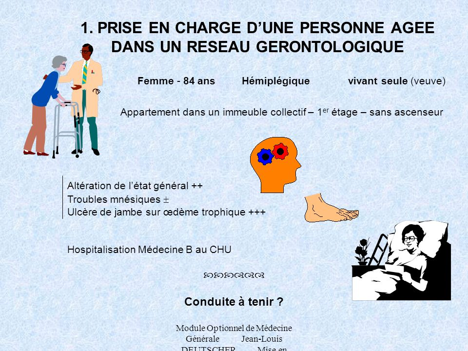 Module Optionnel de Médecine Générale Jean-Louis DEUTSCHER Mise en situation : 2 cas cliniques 1. PRISE EN CHARGE DUNE PERSONNE AGEE DANS UN RESEAU GE