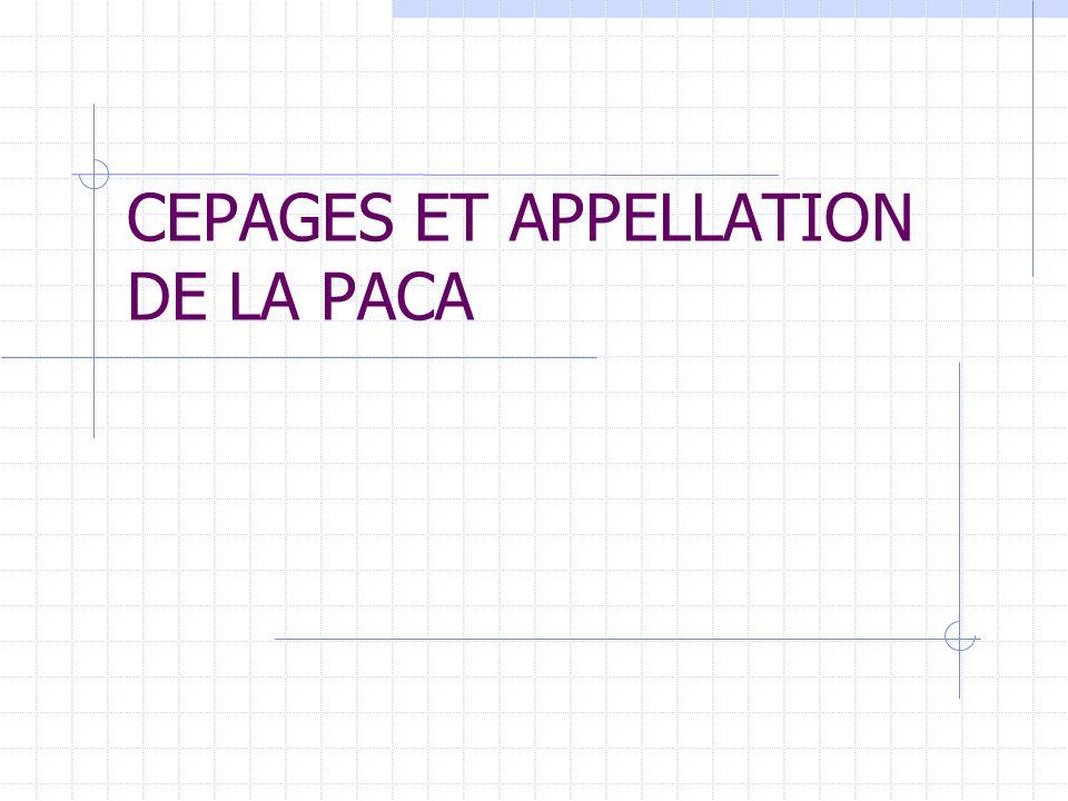 CEPAGES ET APPELLATION DE LA PACA