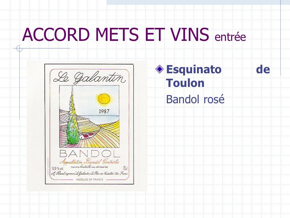 ACCORD METS ET VINS entrée Esquinato de Toulon Bandol rosé