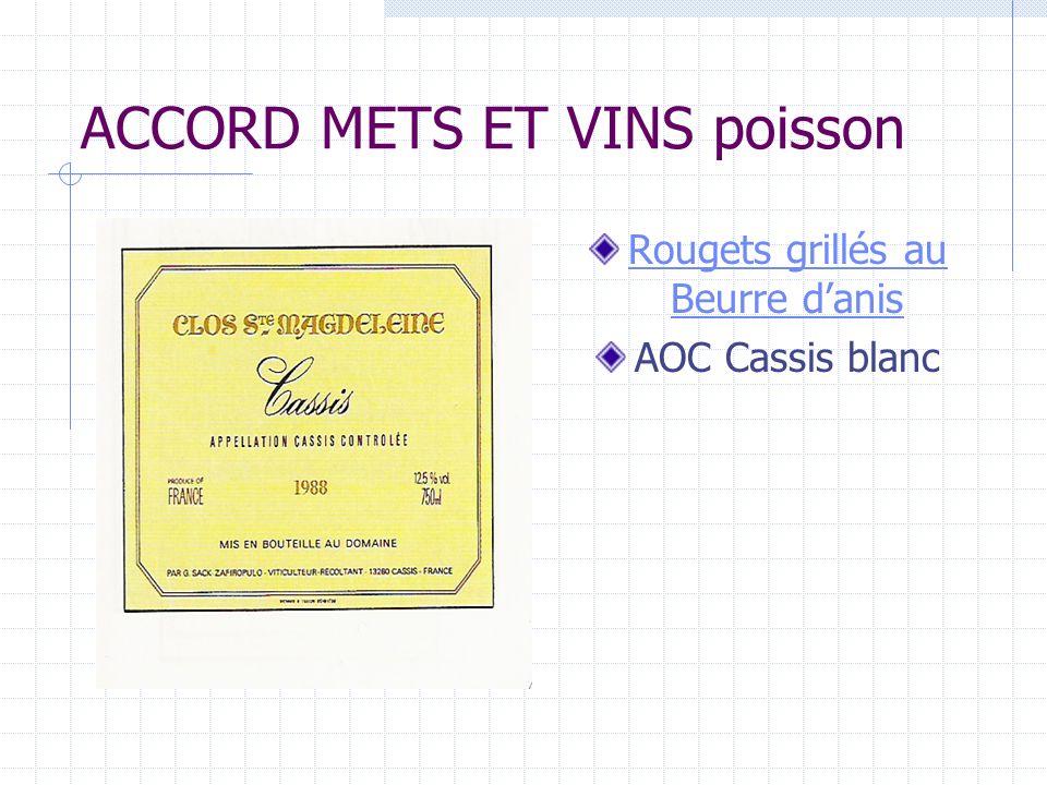 ACCORD METS ET VINS poisson Rougets grillés au Beurre danis AOC Cassis blanc