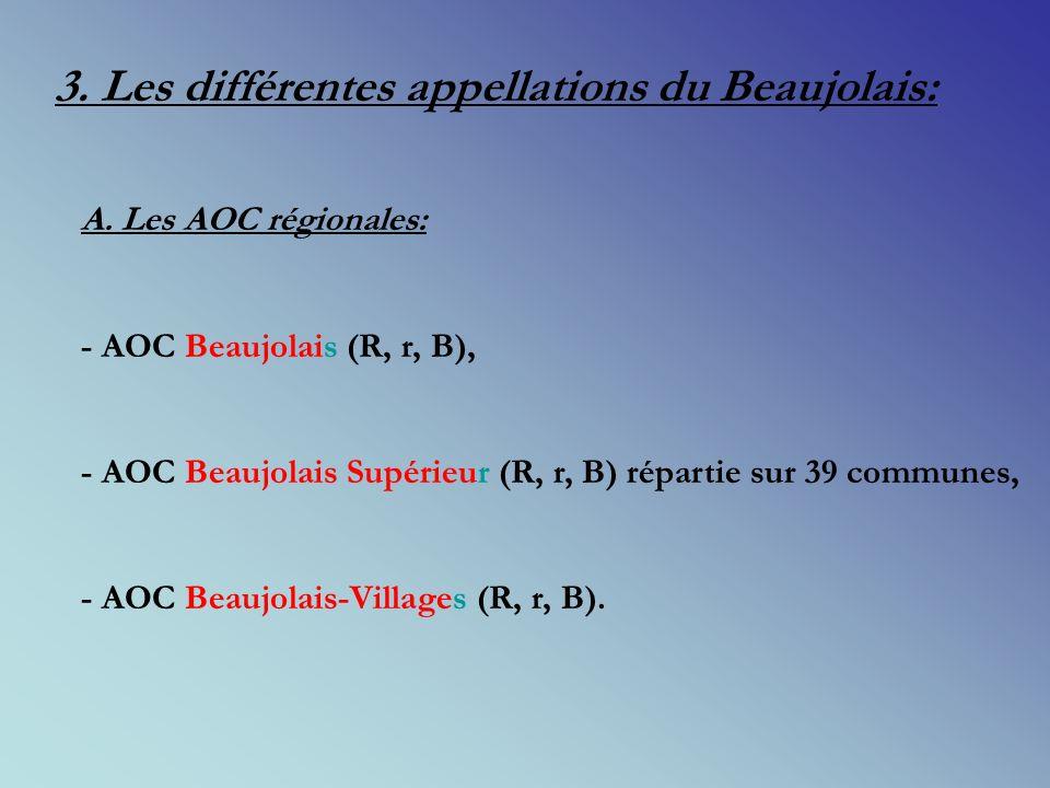 3.Les différentes appellations du Beaujolais: A.