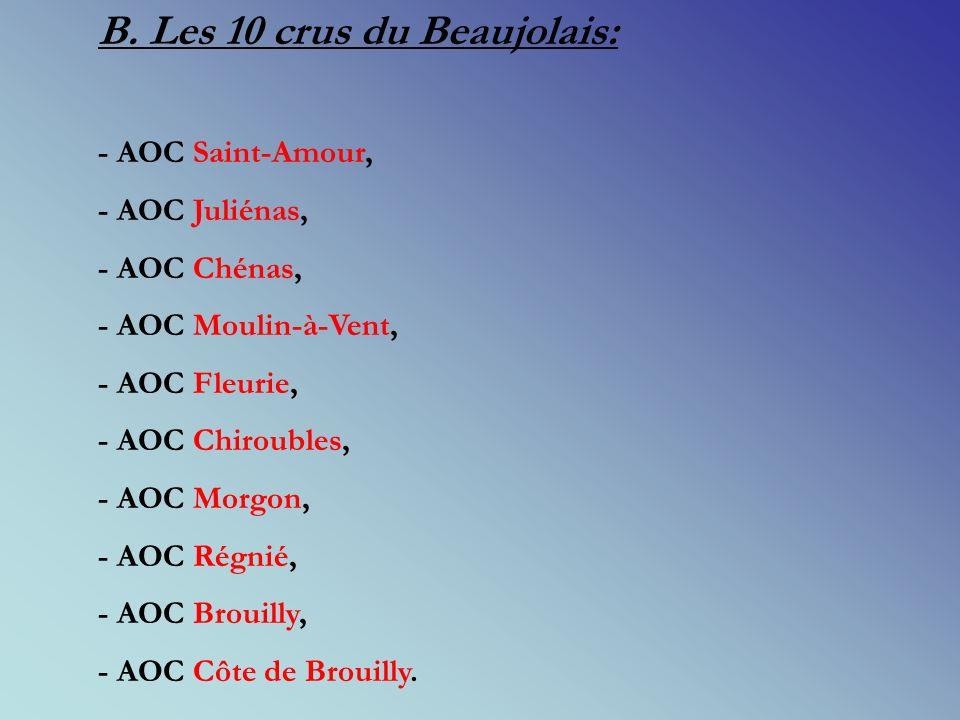 3. Les différentes appellations du Beaujolais: A. Les AOC régionales: - AOC Beaujolais (R, r, B), - AOC Beaujolais Supérieur (R, r, B) répartie sur 39