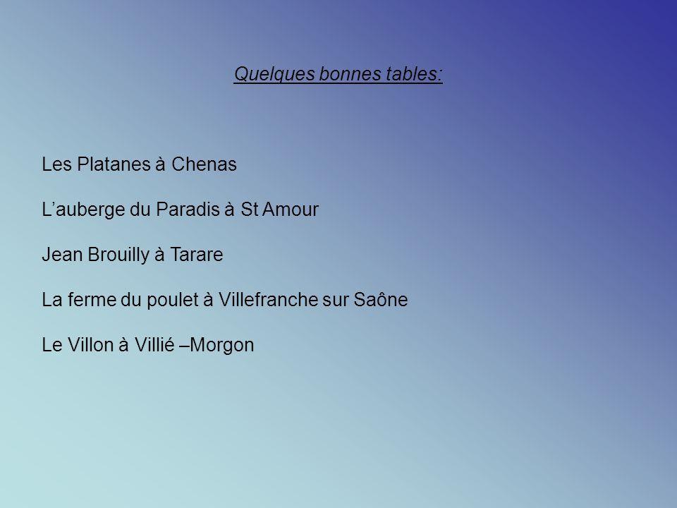 Quelques bonnes tables: Les Platanes à Chenas Lauberge du Paradis à St Amour Jean Brouilly à Tarare La ferme du poulet à Villefranche sur Saône Le Villon à Villié –Morgon