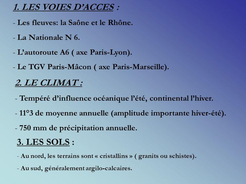 1.LES VOIES DACCES : - Les fleuves: la Saône et le Rhône.