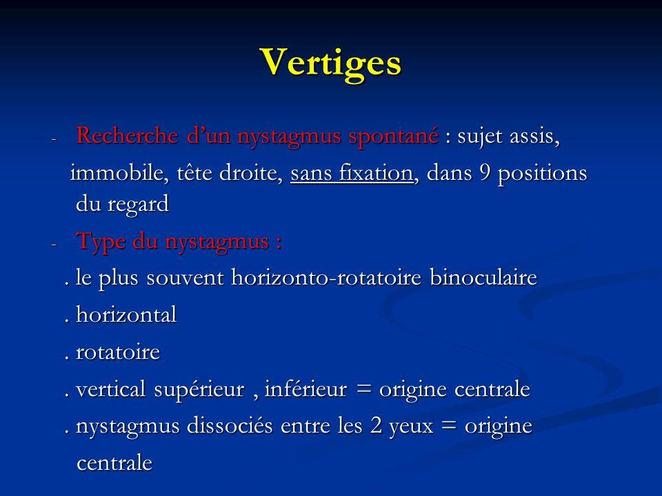 Vertiges - Recherche dun nystagmus spontané : sujet assis, immobile, tête droite, sans fixation, dans 9 positions du regard immobile, tête droite, san