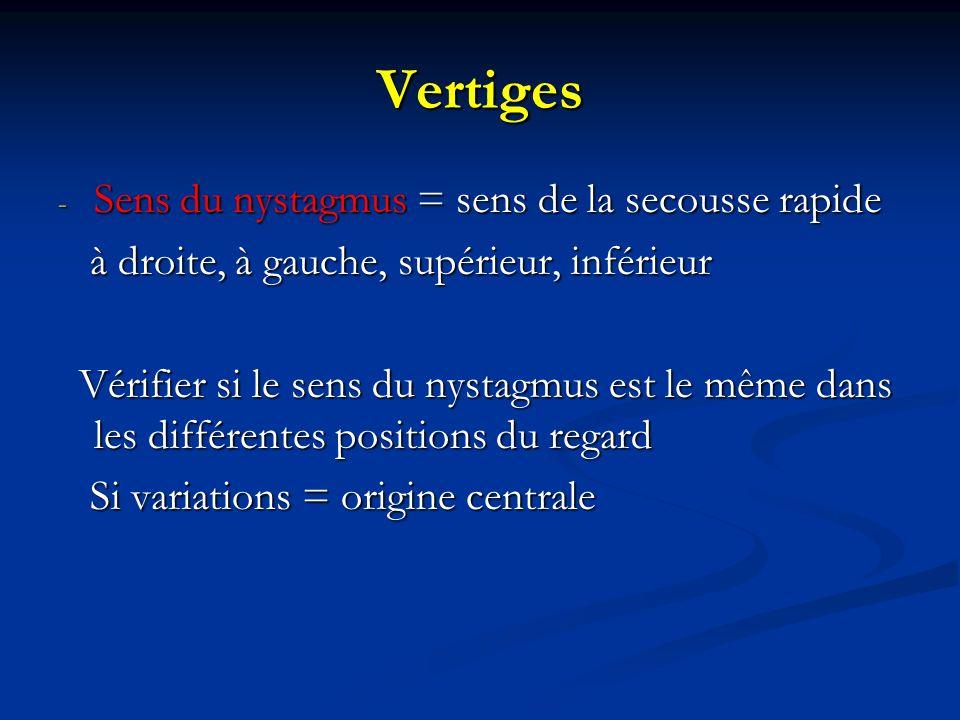 Vertiges - Sens du nystagmus = sens de la secousse rapide à droite, à gauche, supérieur, inférieur à droite, à gauche, supérieur, inférieur Vérifier s