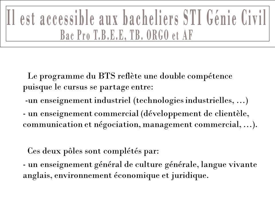 Le programme du BTS reflète une double compétence puisque le cursus se partage entre: -un enseignement industriel (technologies industrielles, …) - un