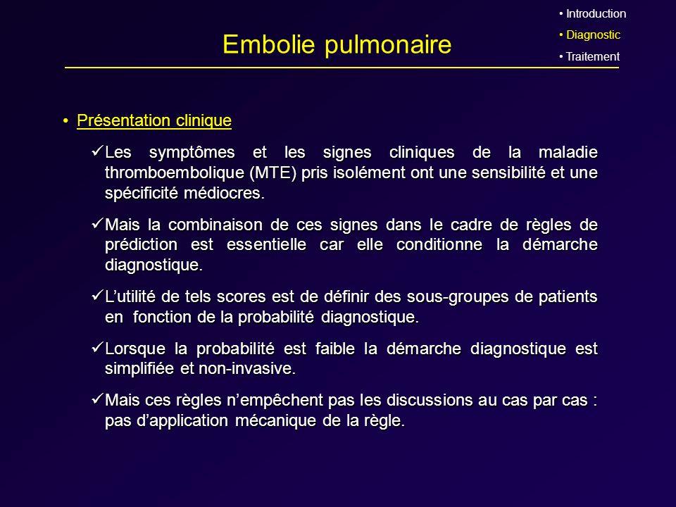 Embolie pulmonaire Présentation clinique Les symptômes et les signes cliniques de la maladie thromboembolique (MTE) pris isolément ont une sensibilité
